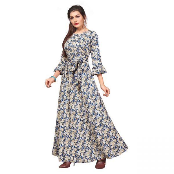 Crepe Stitch Gown - MPP1716   Blue   CC-04