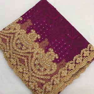 Net Embroidered Saree - FG2879 | Wine | CC-08