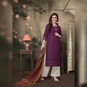 Muslin Stitch Top Bottom&Dupatta - FG2817 | Dark Purple