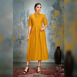 Heavy Crepe Dress - FG2868 | Yellow
