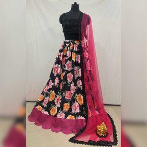 Silk Lehanga Choli&Dupatta - FG2871 | Black