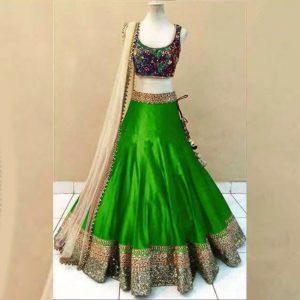 Satin Lehanga Blouse&Dupatta - FG2882 | Green