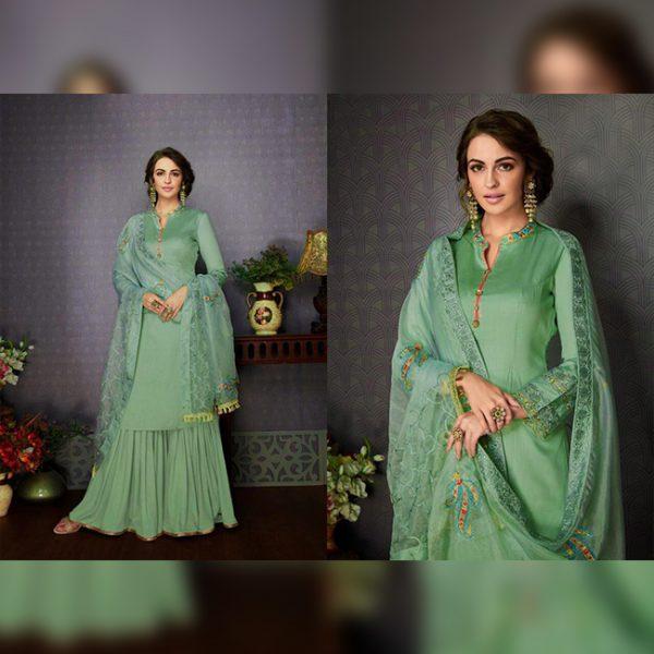 Embroiderede Semi Stitch Dress - FG2808 | Green