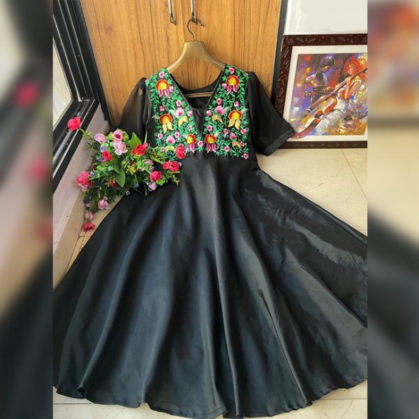 Taffeta Silk Embroidered Stitch Gown - FG2847 | Black