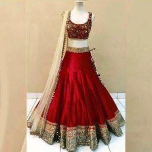 Satin Lehanga Blouse&Dupatta - FG2882 | Red