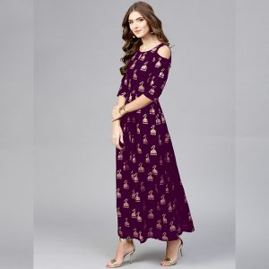 Crepe Silk Stitch Gown - MPP1715 | Purple | CC-03
