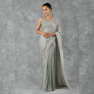 Georgette Makesh Work Saree - FG2844 | Gray