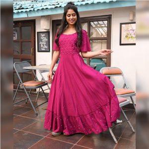 Rayon Stitch Gown - FG2795 | Pink