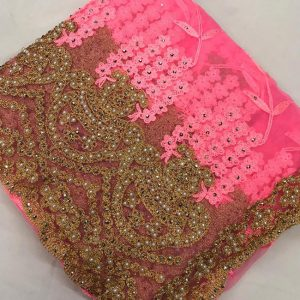 Net Embroidered Saree - FG2879 | Pink | CC-12