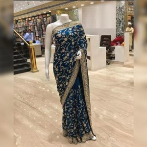 Georgette Embroidered Saree - MPP1711 | Blue