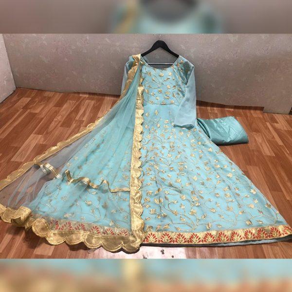Embroidered Semi Stitch Dress - FG2834   Light Blue
