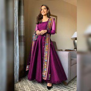 Taffeta Silk Gown&Dupatta - FG2770 | Purple