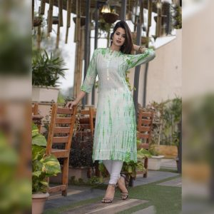 Cotton Slub Stitch Kurti - FG2797 | Green | CC-04