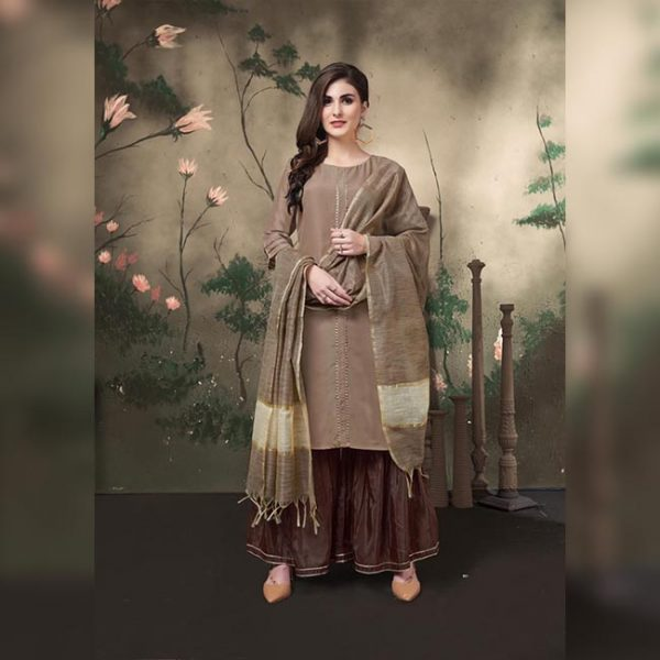 Muslin Stitch Top Bottom&Dupatta - FG2817 | Brown