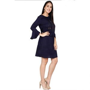 Rayon Hand Work Stitch Dress - FG2874 | Dark Blue