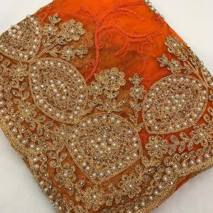 Net Embroidered Saree - FG2879 | Dark Orange | CC-13