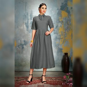 Heavy Crepe Dress - FG2868 | Gray