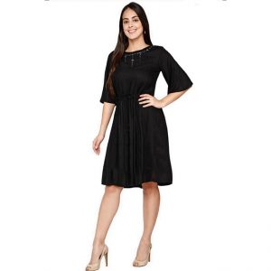 Rayon Hand Work Stitch Dress - FG2874 | Black