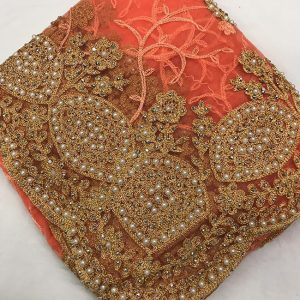 Net Embroidered Saree - FG2879 | Orange | CC-11