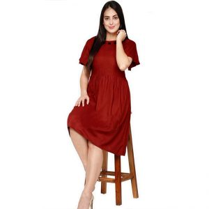Rayon Hand Work Stitch Dress - FG2874 | Red