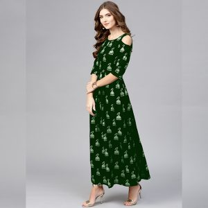 Crepe Silk Stitch Gown - MPP1715 | Green | CC-04