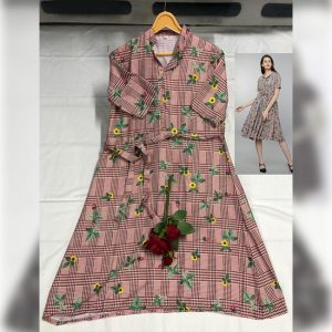 Rayon Westren Dress - FG2860 | Pink | CC-02