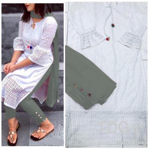 Cotton Stitch Kurti&Pant- FG2863 | White | CC-01