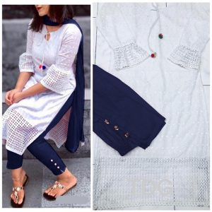 Cotton Stitch Kurti&Pant- FG2863 | White | CC-02