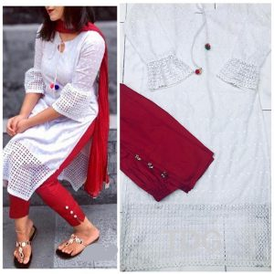 Cotton Stitch Kurti&Pant- FG2863 | White | CC-03