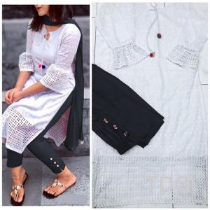 Cotton Stitch Kurti&Pant- FG2863 | White | CC-04