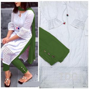 Cotton Stitch Kurti&Pant- FG2863 | White | CC-05