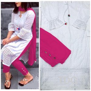 Cotton Stitch Kurti&Pant- FG2863 | White | CC-06