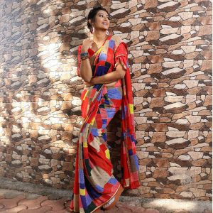 Printed Georgette Saree - FG2866 | Red | CC-01