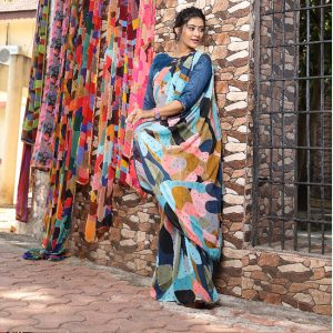 Printed Georgette Saree - FG2866 | Light Blue | CC-05