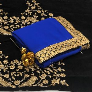 Georgette Embroidered Saree - FG2867 | Royal Blue