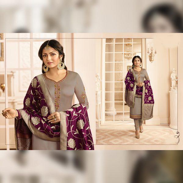 Satin Embroidered Semi Stitch Dress - FG2849 | Gray