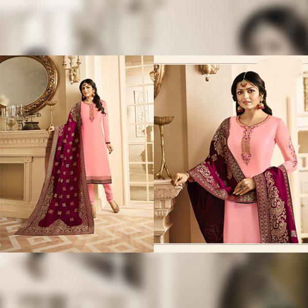 Satin Embroidered Semi Stitch Dress - FG2849 | Light Pink