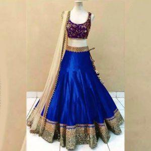 Satin Lehanga Blouse&Dupatta - FG2882 | Blue