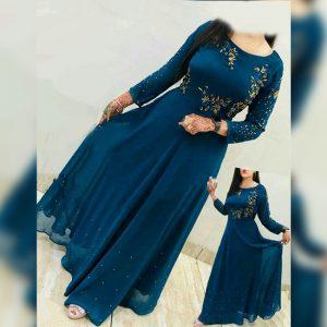 Georgette Embroidered Stitch Dress - FG2772 | Blue