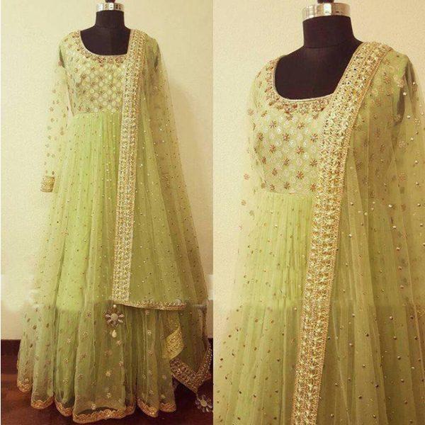 Net Embroidered Semi Stitch Dress - FG2824   Sea Green