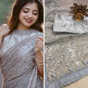 Net Chain Stitch&Stone Work Saree - FG2857 | Gray