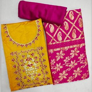 Chanderi Cotton Dress Material - FG2858 | Dark Yellow