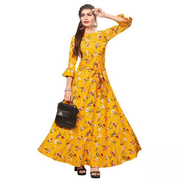 Crepe Stitch Gown - MPP1716 | Yellow | CC-10