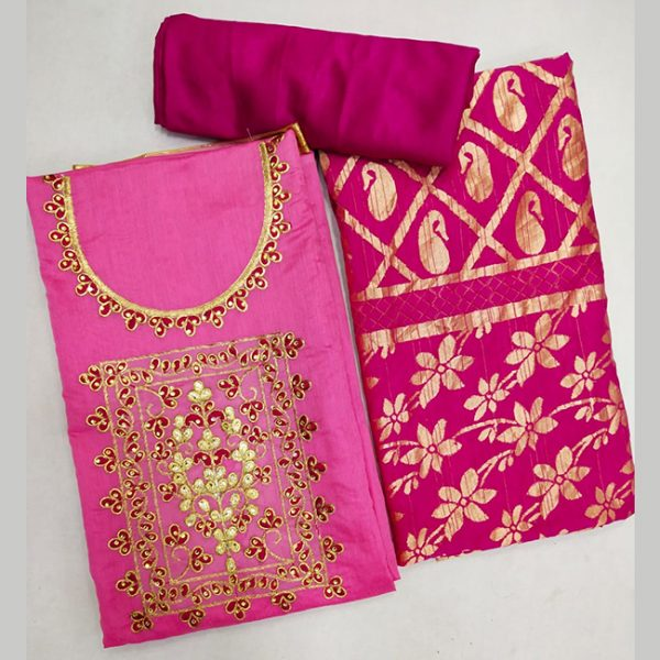 Chanderi Cotton Dress Material - FG2858 | Pink