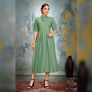 Heavy Crepe Dress - FG2868 | Light Green