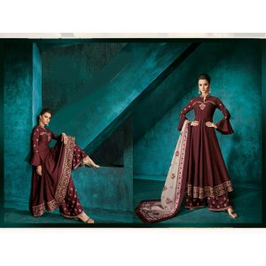 Maslin Top Bottom&Dupatta - MPP1710 | Dark Brown | CC-04