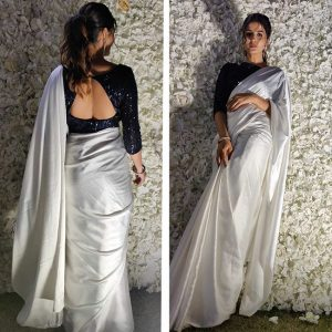 Silk Sequence Work Saree - FG2877 | White
