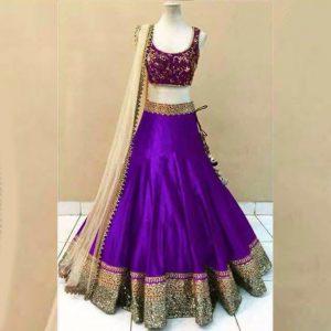 Satin Lehanga Blouse&Dupatta - FG2882 | Purple