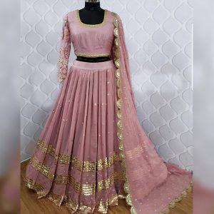 Georgette Lehanga Choli&Dupatta - FG2779   Tea Pink