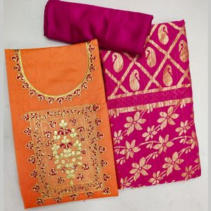 Chanderi Cotton Dress Material - FG2858 | Orange